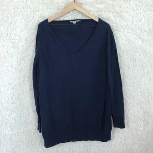 Blue Tunic Sweater V Neck Wool Blend Boden